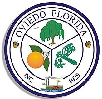 Logo for Oviedo, Florida. The logo states, 'Oviedo, Florida, Inc. 1925' and circles around a tree, orange, and celery.