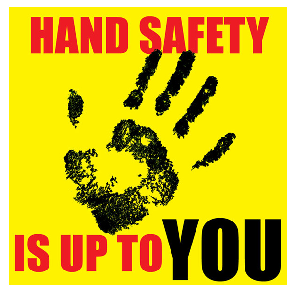 Hand Safety Poster with yellow background and hand print